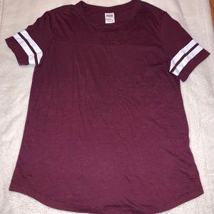 VS PINK Burgundy Short Sleeve T-Shirt